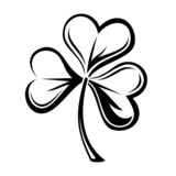 Black silhouette of shamrock. Vector illustration.