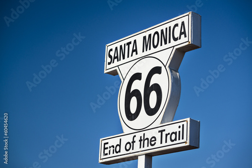 Route 66 Road Sign at Santa Monica Pier