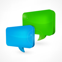 Color square speech bubbles on white, vector illustration