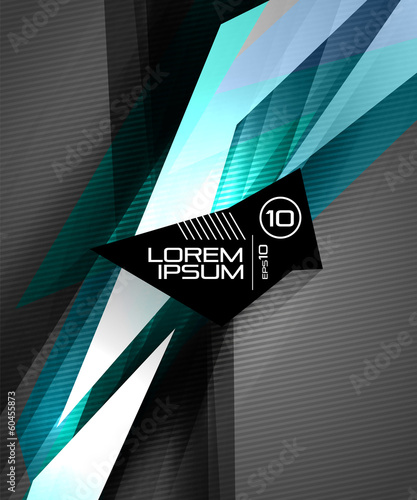 Vector futuristic glossy lines on black