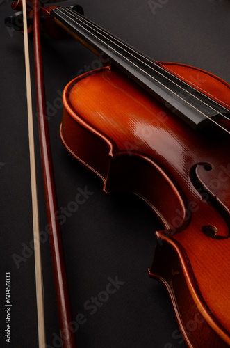 Violin and sheet music closeup