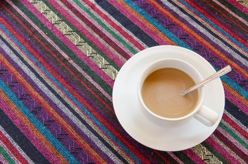 Coffee with colorful background