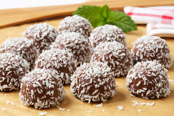 Chocolate coconut snowball cookies