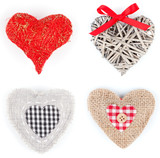 set of heart shaped decoration, over white background