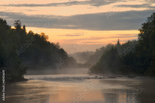 White Night on the River Pana. Kola Peninsula. Pana River.