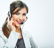 Portrait of woman customer service worker, call center smiling