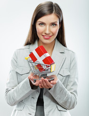 Business woman. Selling concept. White background