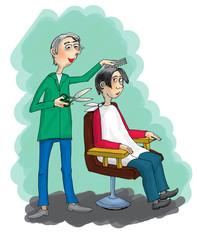 Hairdresser, cartoon