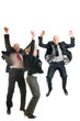 Cheerful business people jumping