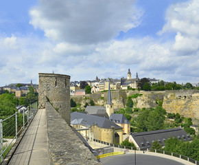 Medieval walls and fortifications in Luxembourg city. UNESCO