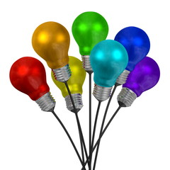 Bouquet of many-colored light bulbs on black wires