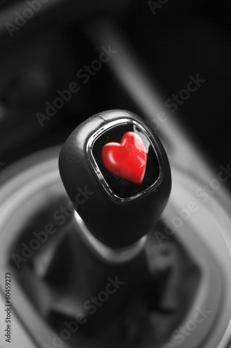Valentines heart on Gearstick of a car