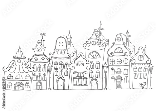 Hand drawn vintage homes. Old town - 60459473