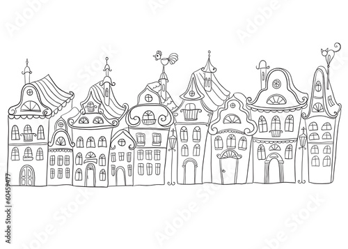 Hand drawn vintage homes. Old town - 60459477