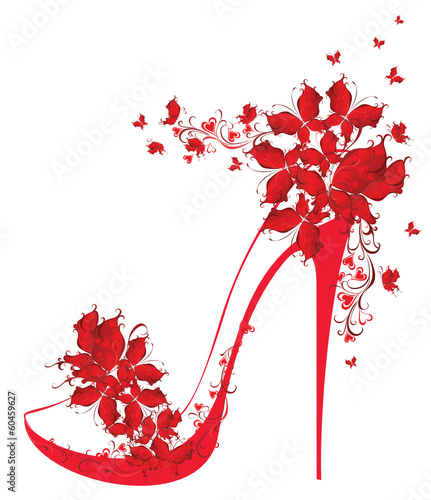 Shoes on a high heel decorated with butterflies. Vector