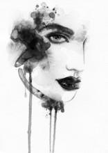 Beau visage de femme. illustration d'aquarelle