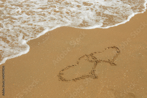 hearts drawing in sand on beach