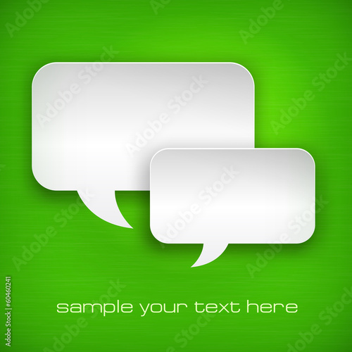 White square speech bubbles on green, vector illustration