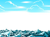 Artistic retro clouds and ocean waves background