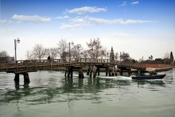 Bridge in the main canal Burano island