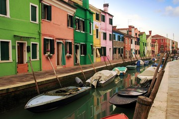 Canals and colored houses in Burano island
