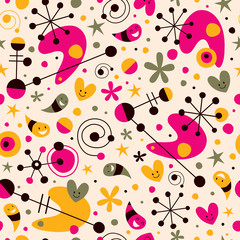 Funky cartoon retro pattern