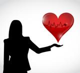 female and red lifeline heart illustration design poster