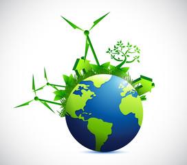 globe and eco city illustration design