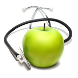 Stethoscope and green apple. Vector illustration