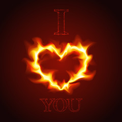 Vector love card with heart of the fire