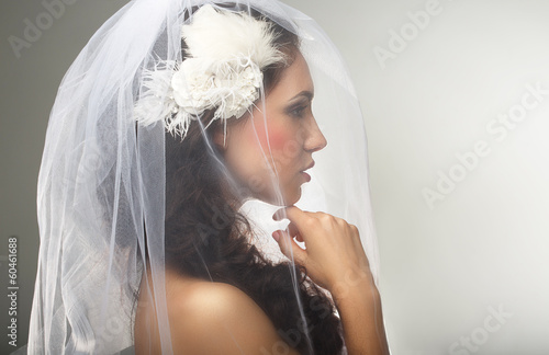 Engagement. Loveliness. Side view of Sincere Affectionate Woman