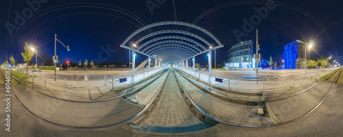 Canvas Treinstation Tram stop in Hanover. Evening 360 degree panorama.