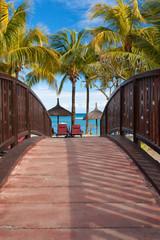 passerelle pour la plage, île Maurice