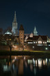 Skyline of German City Ulm with Cathedral (Münster) at night