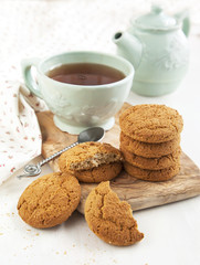 Oatmeal cookies and cup of tea