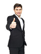 Happy businessman shows thumbs up