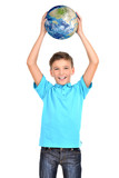Smiling boy in casual  holding planet earth in hands above his h