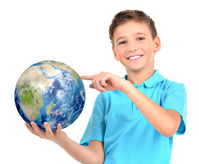 Smiling boy in casual  holding planet earth in hands