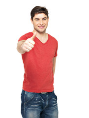 Adult happy man with thumbs up gesture