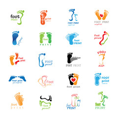Foot Print Icons Set - Isolated On White Background