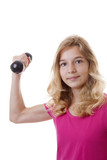 Girl is sporting with dumbbells