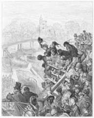 The Boat Race: Putney Bridge, the Return - Dore's London