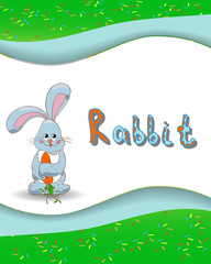 Animal alphabet letter R and rabbit with a colored background