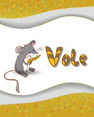 Animal alphabet letter V and vole with a colored background