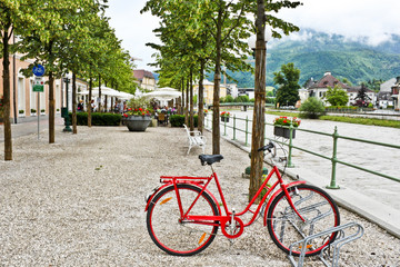 Bicycle near river in Bad Ischl