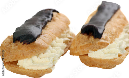 chocolate eclairs on white
