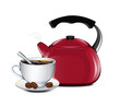 Cup Of Coffee And Kettle