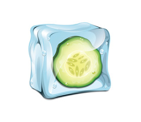Ice Cube With Cucumber
