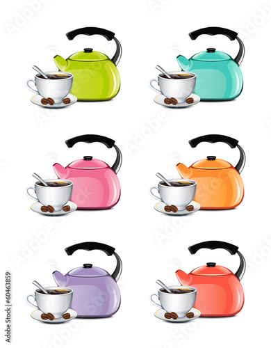 Cup Of Coffee And Kettle Set