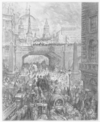 Ludgate Hill in the Street - Dore's London: a Pilgrimage